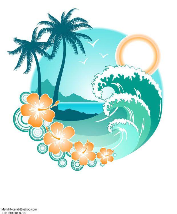 Tropical island clip art. Clipart wave summer wave