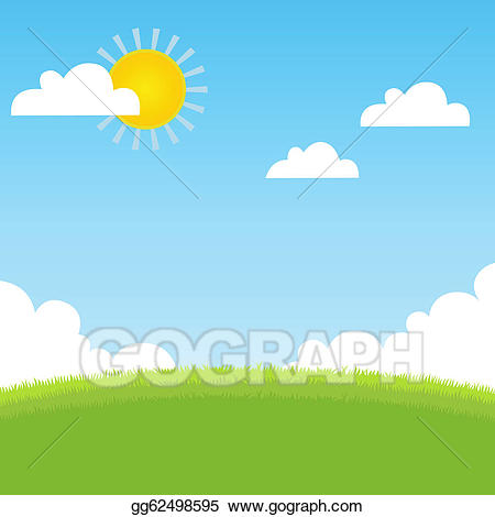 Vector art with grass. Clipart summer landscape