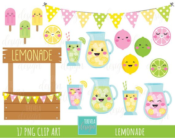 sale lemonade summer. Lemon clipart design cute