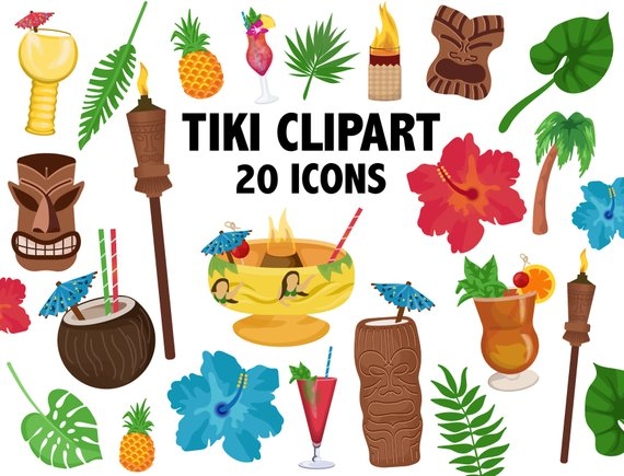 Drink clipart tiki drink. Tropical cocktail bar icons