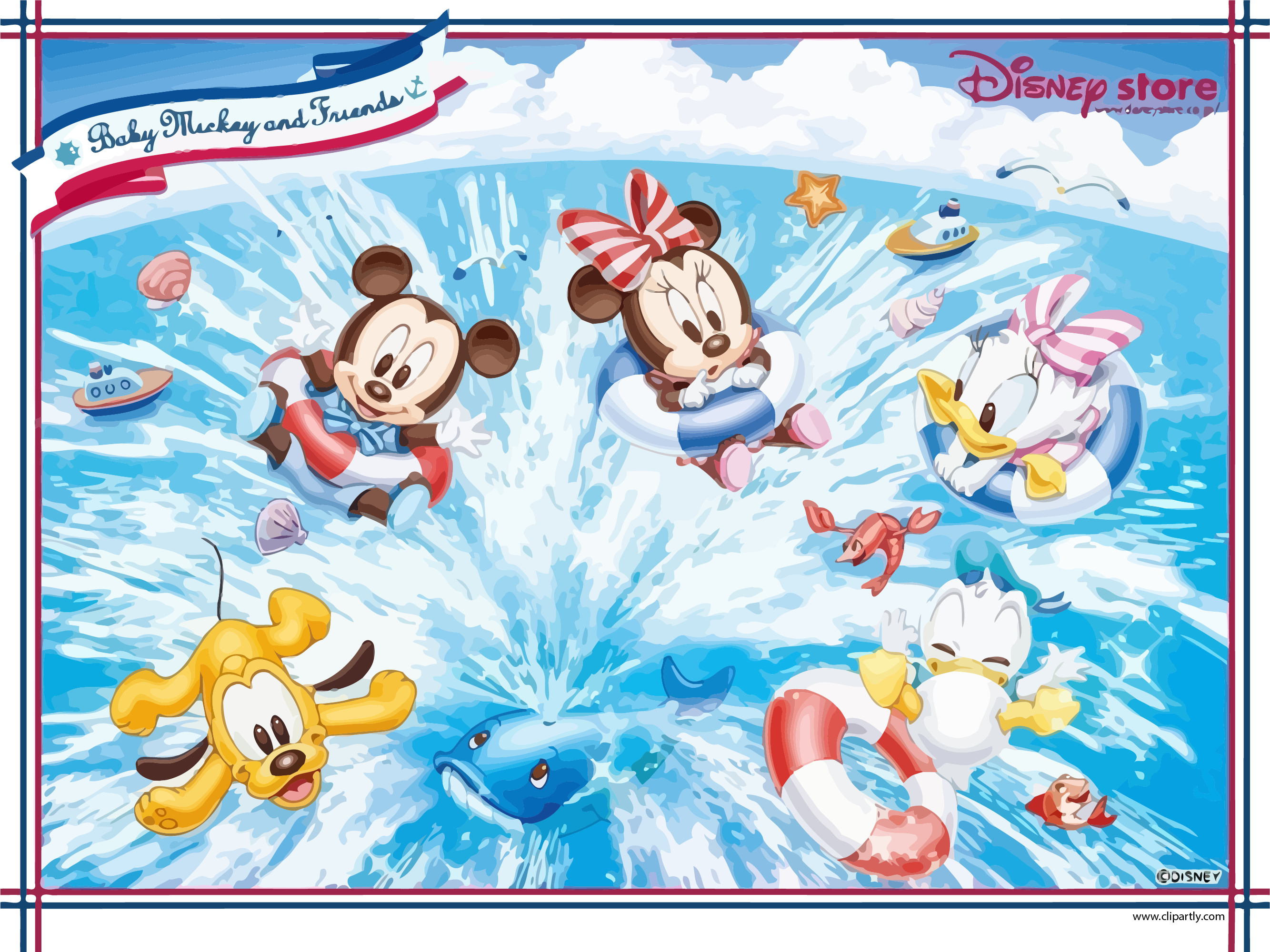 Baby mickey and friends. Telephone clipart fun