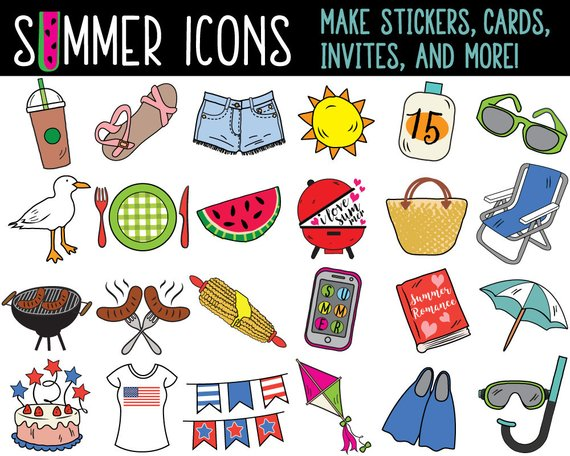 Mega bundle summer clip. Planner clipart specification