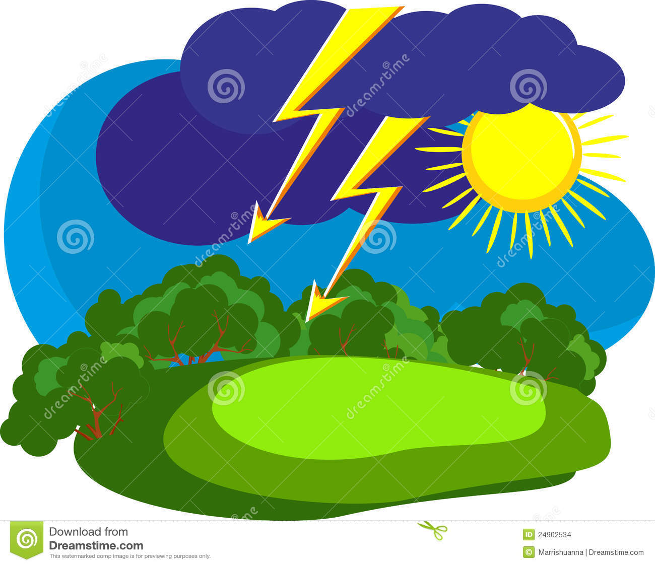 Thunderstorm clipart rainstorm. Summer rain storm in