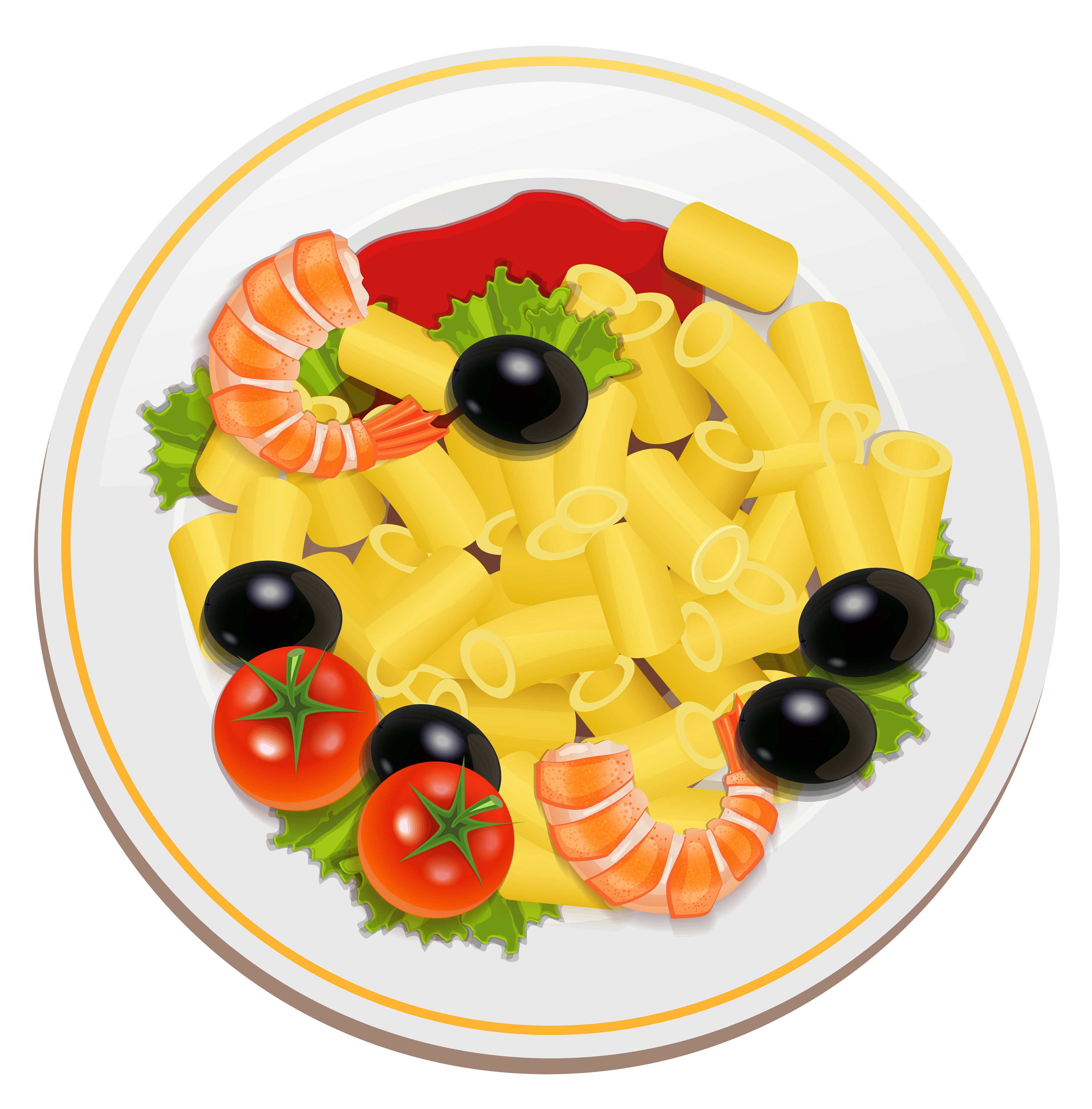 Pasta with shrimps png. Food clipart spaghetti