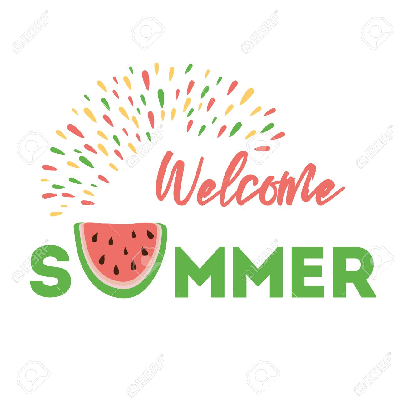 Clipart summer sign. Welcome on the background