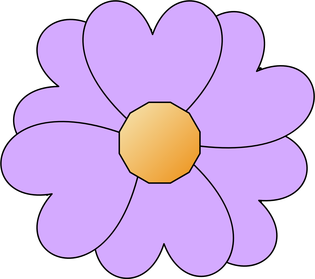Simple flower png. Clipart purple big image