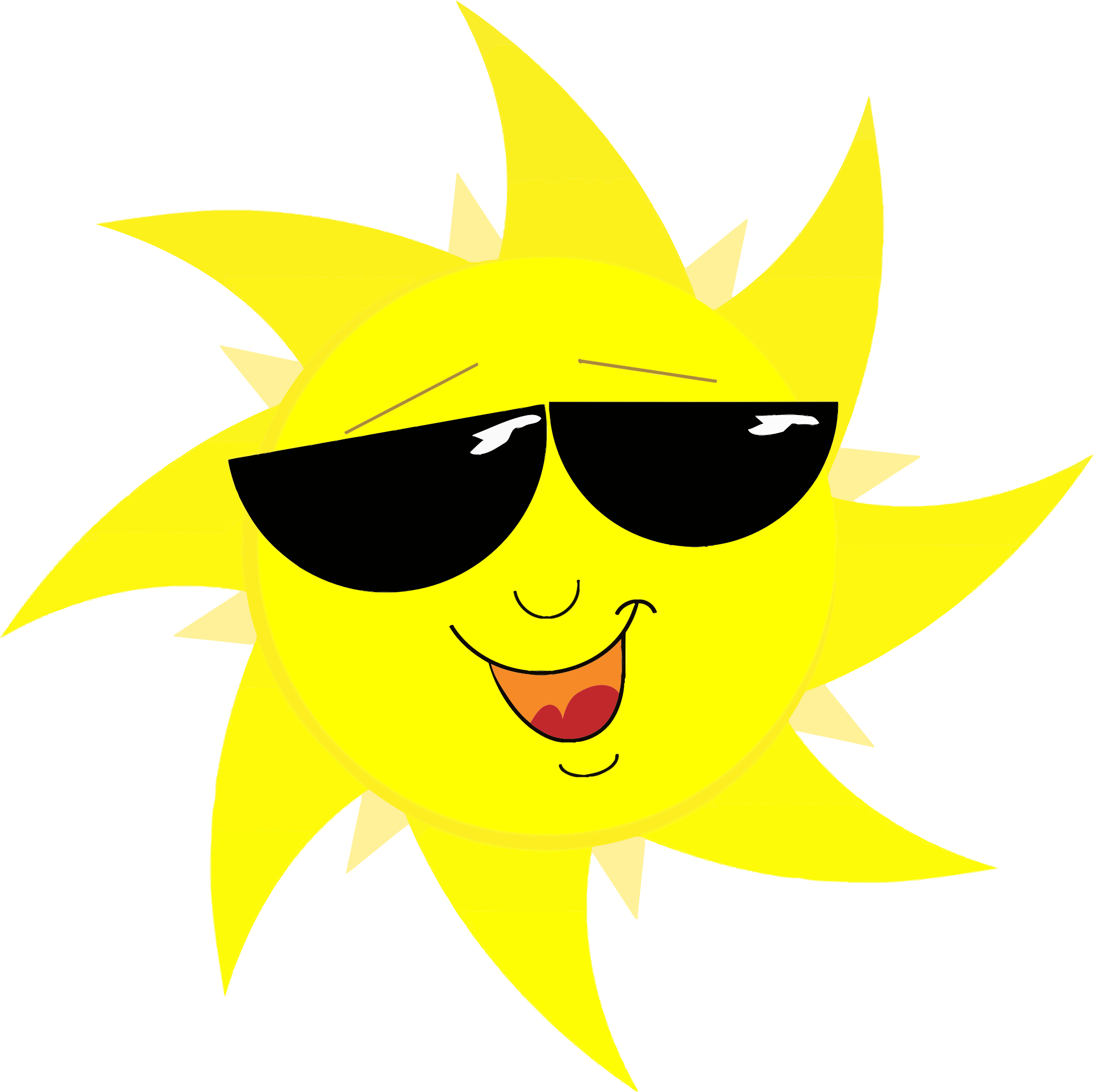 Smiling sun with sunglasses. Clipart summer sunglass