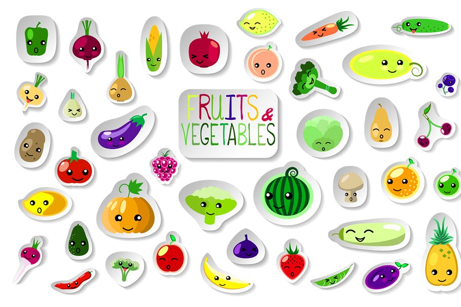 Vegetables clipart summer. Fruits and