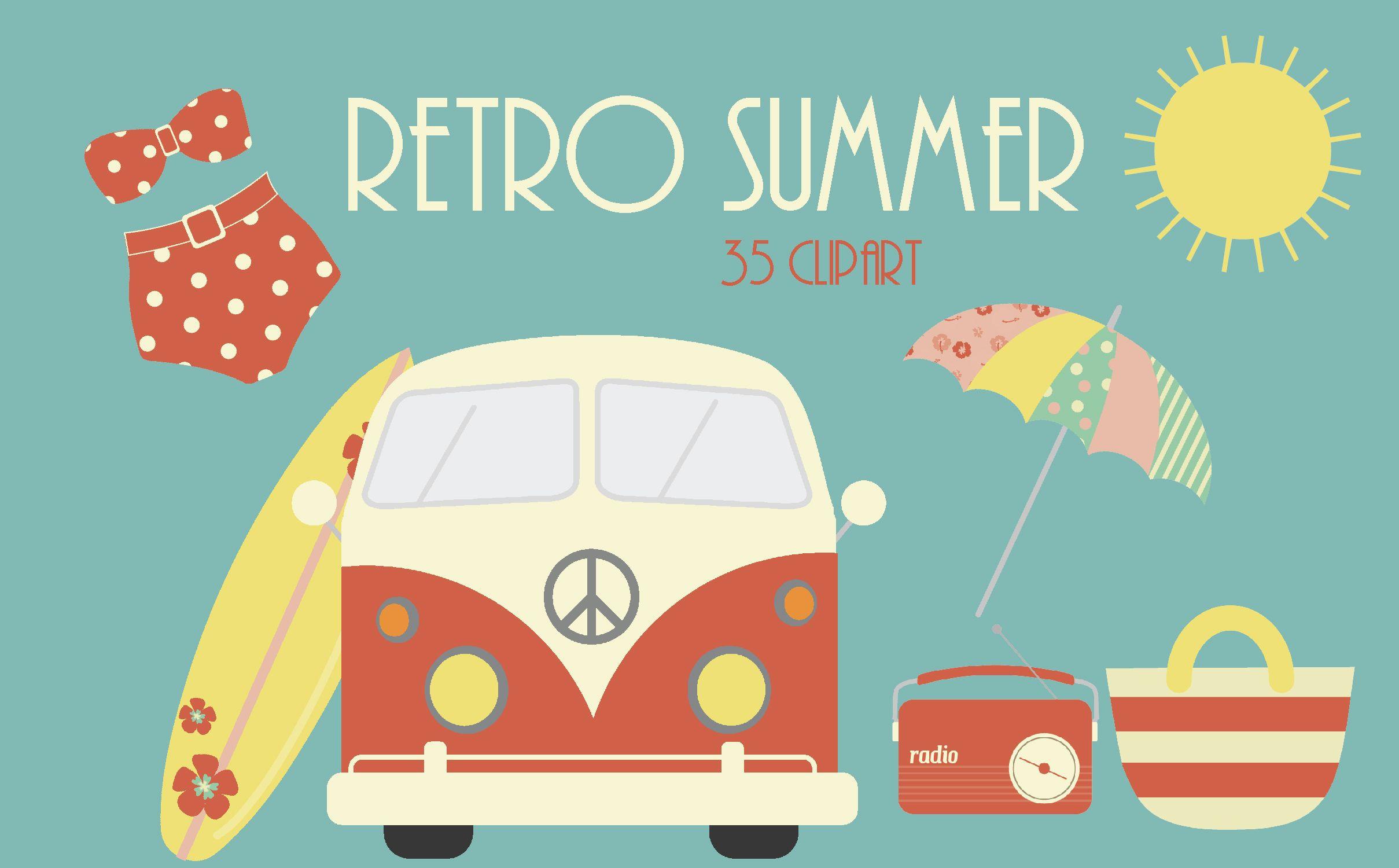 Retro clipart summer. Beaches vintage
