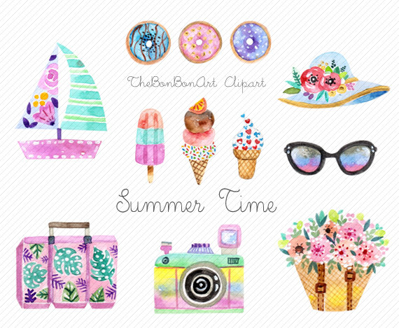 Desserts clipart watercolor. Summer dessert beach