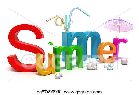 Clipart summer word. With colourful letters stock