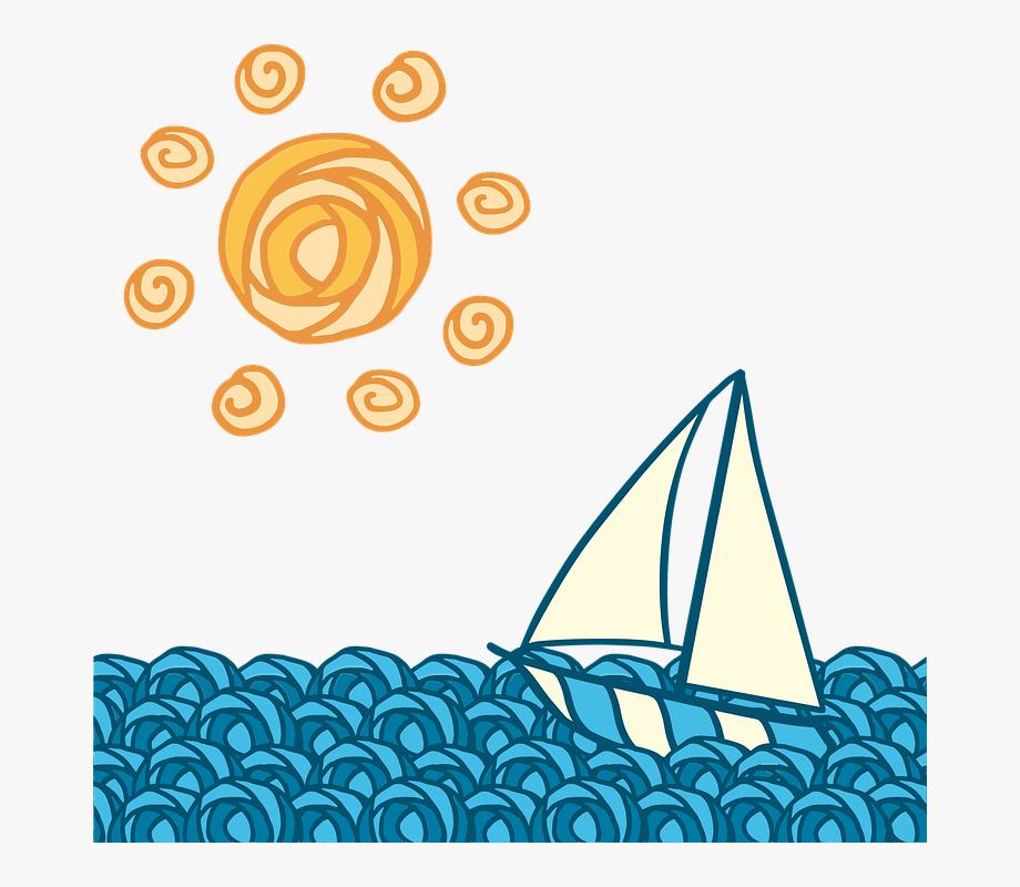 Sun wave journey blue. Waves clipart boat