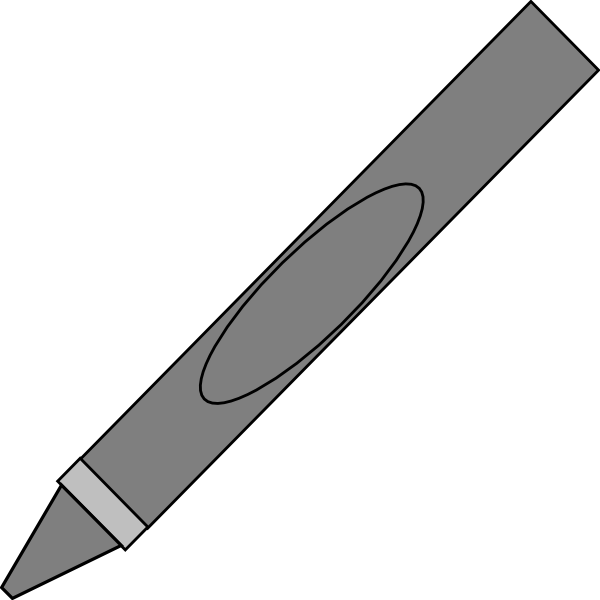 Gray pencil and in. Crayon clipart name tag