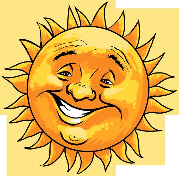 Cheerful smiling sun man. Clipart sunshine face