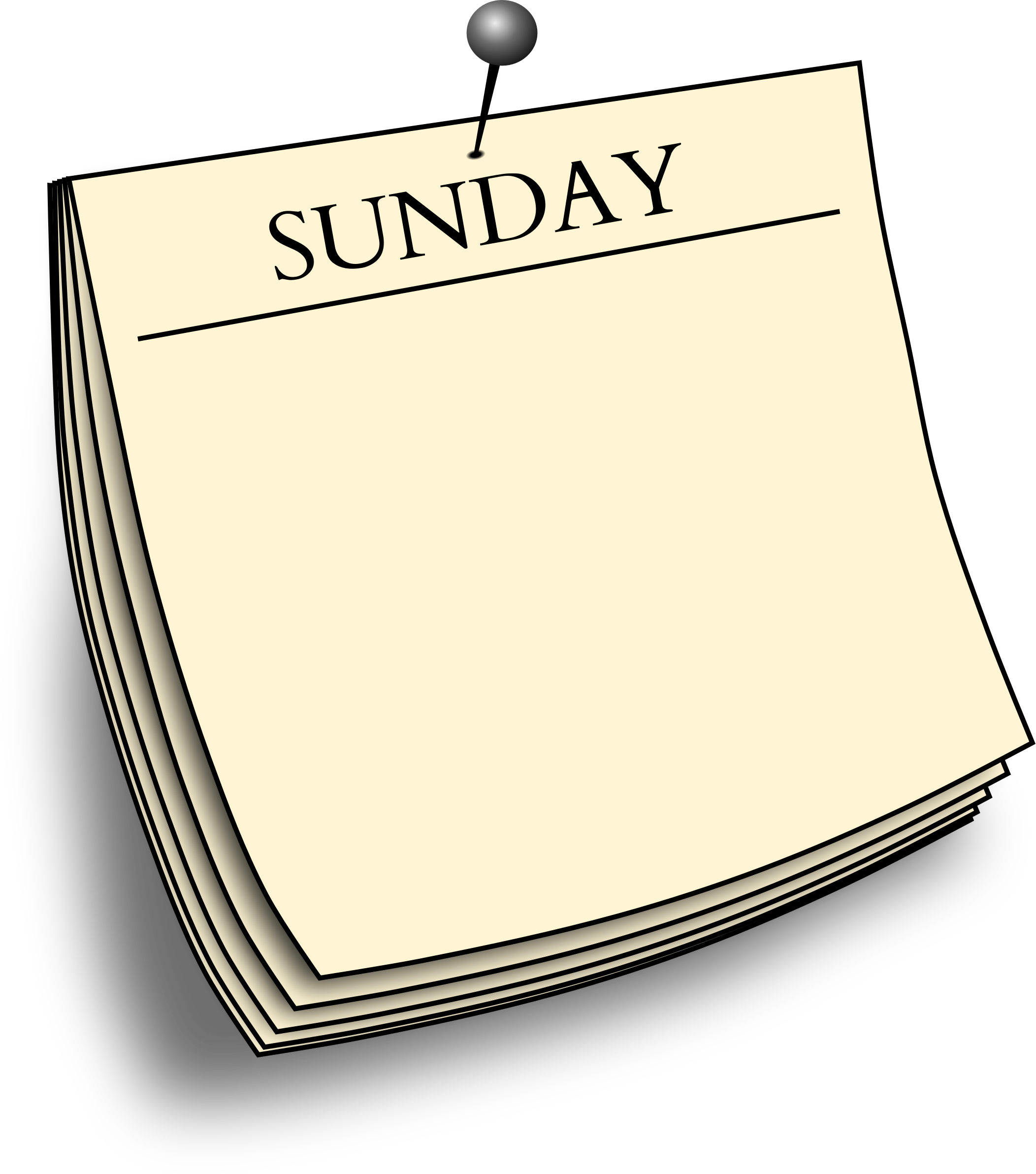 Daily note sunday big. Clipart sun day