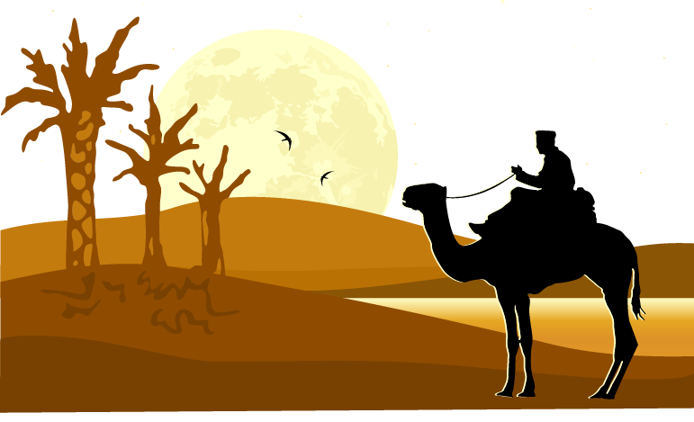 Landscape clipart western sunset. Desert silhouette at getdrawings