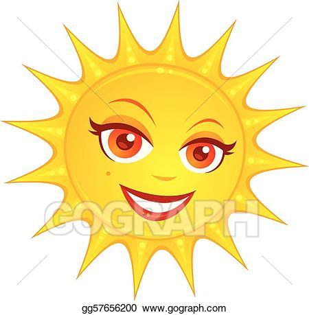 Clipart sun female. Vector art hot summer