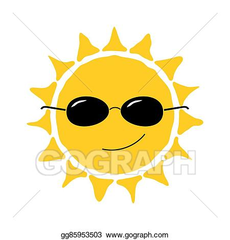 Vector happy sun fun. Heat clipart cute