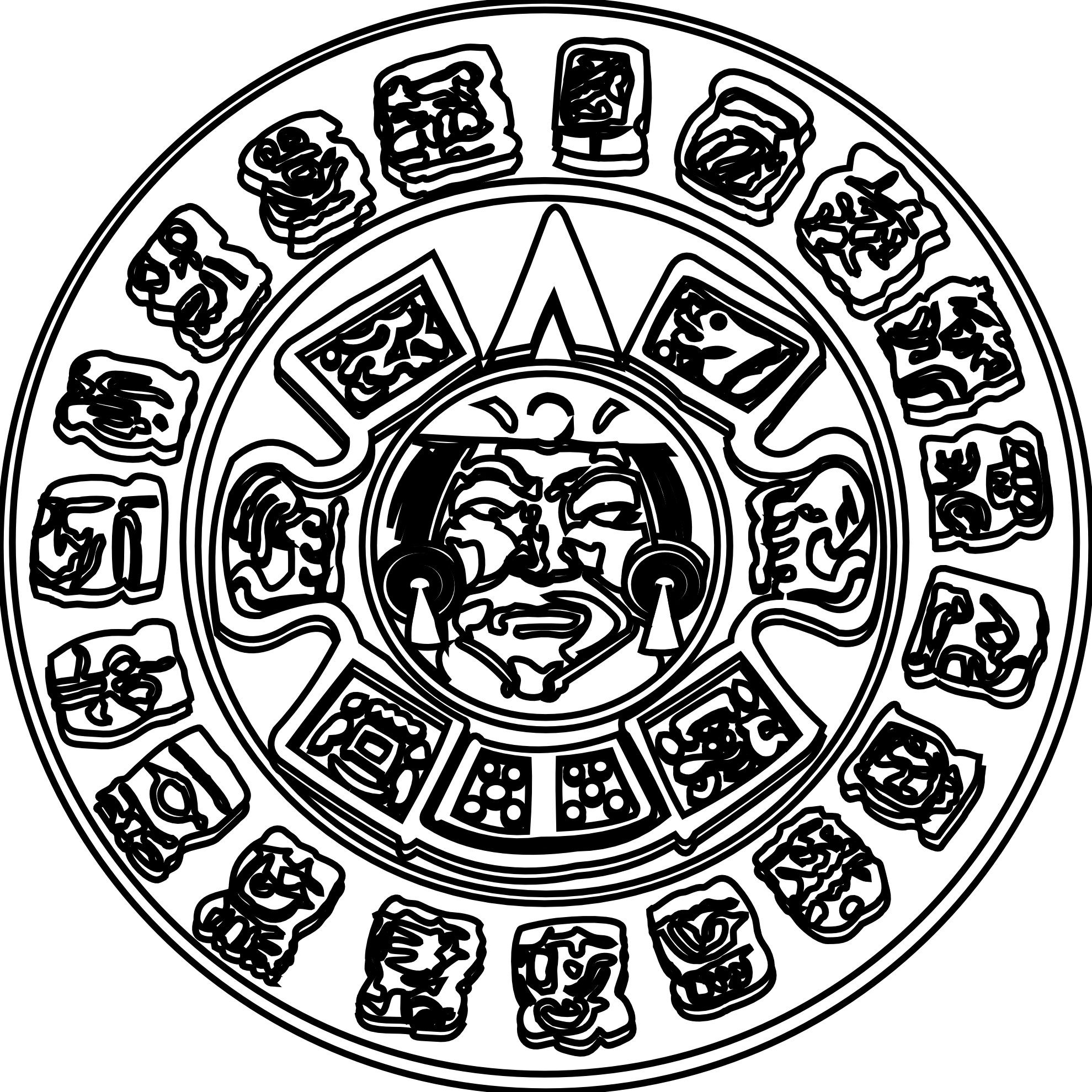 collection of drawing. Clipart sun mayan
