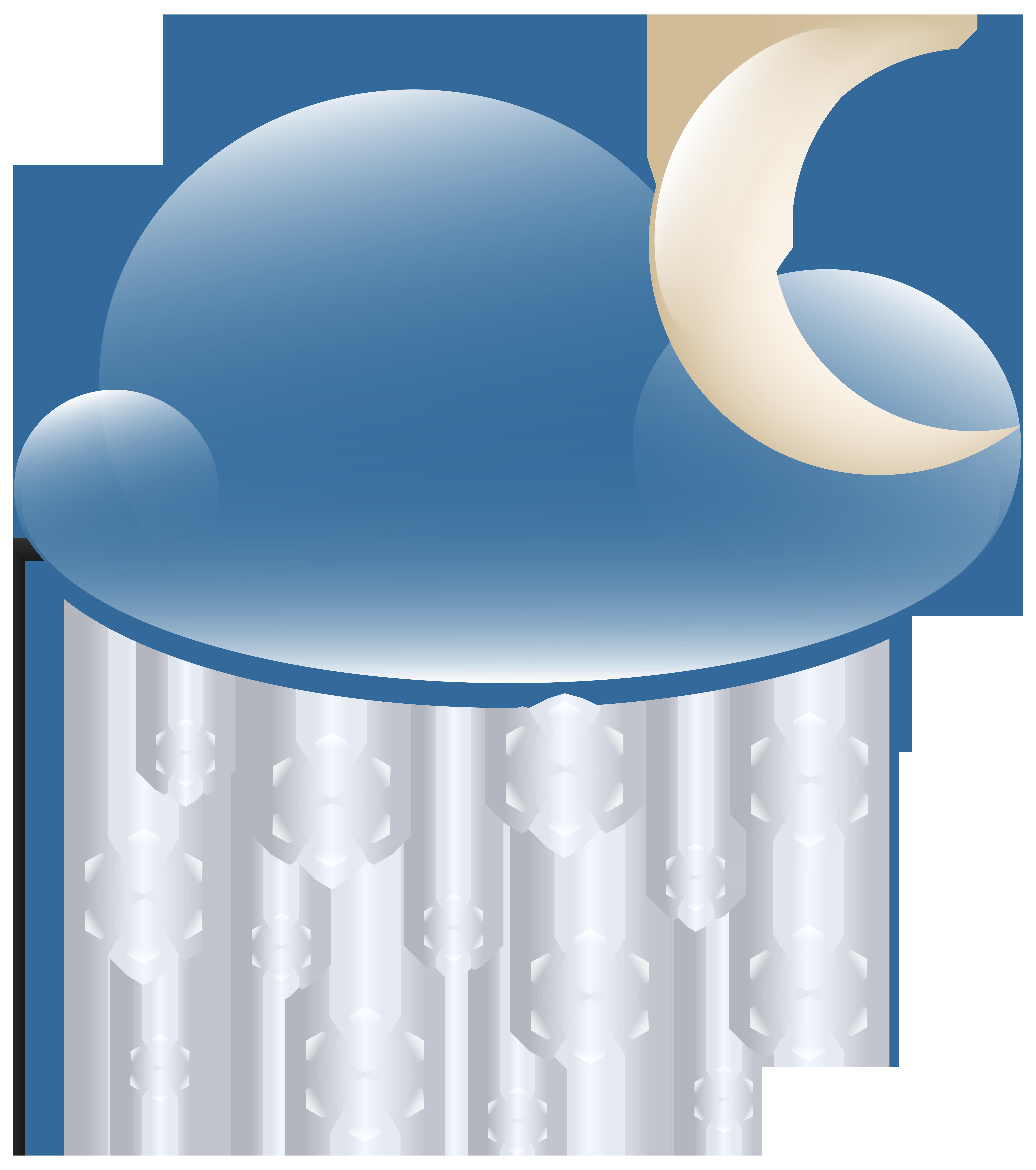 Clipart sun night. Snowy cloud weather icon