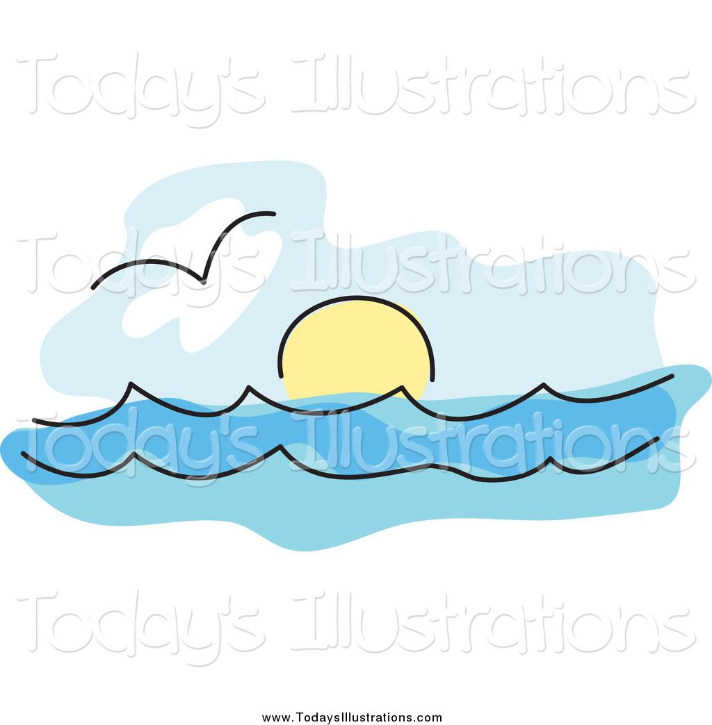 Of a seagull over. Clipart sun ocean
