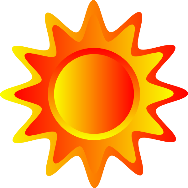 Orange and yellow sun. Sunny clipart red