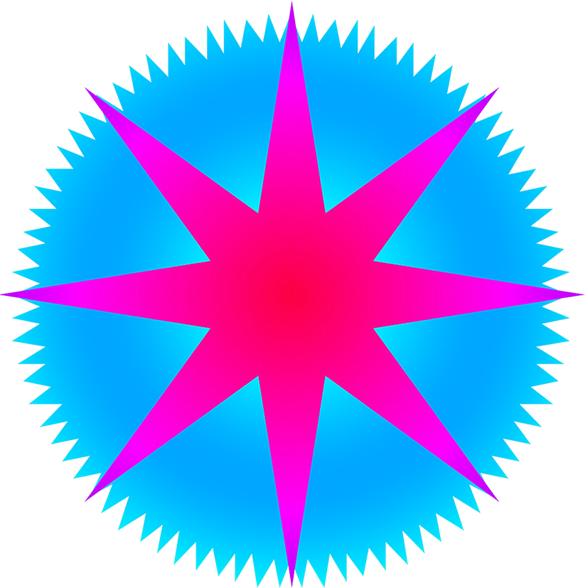 Clipart sun pink. Star with rays