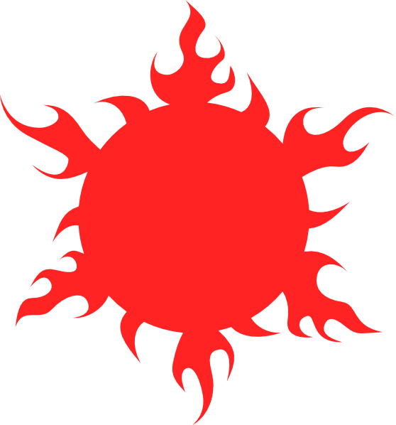 Blazing clip art at. Clipart sun red