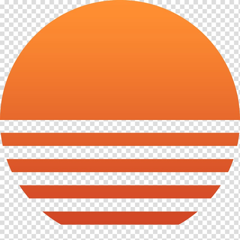Round logo sunset sun. Clipart sunshine orange