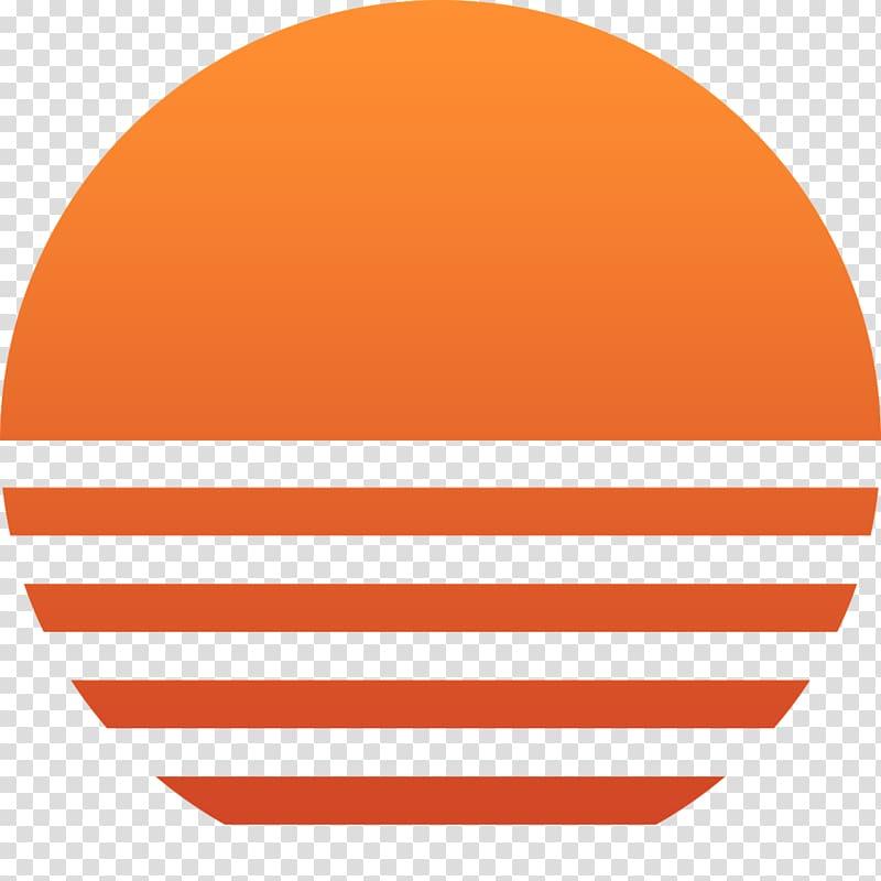 Round orange logo rays. Clipart sun sunset