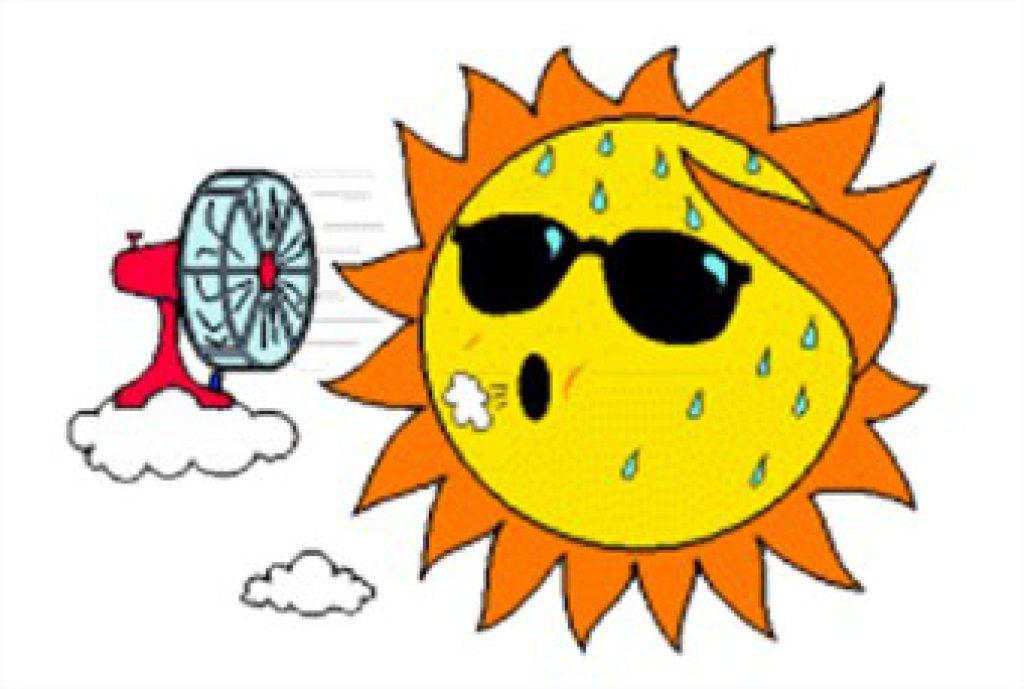 Sunny clipart warm. Sweating sun clip art