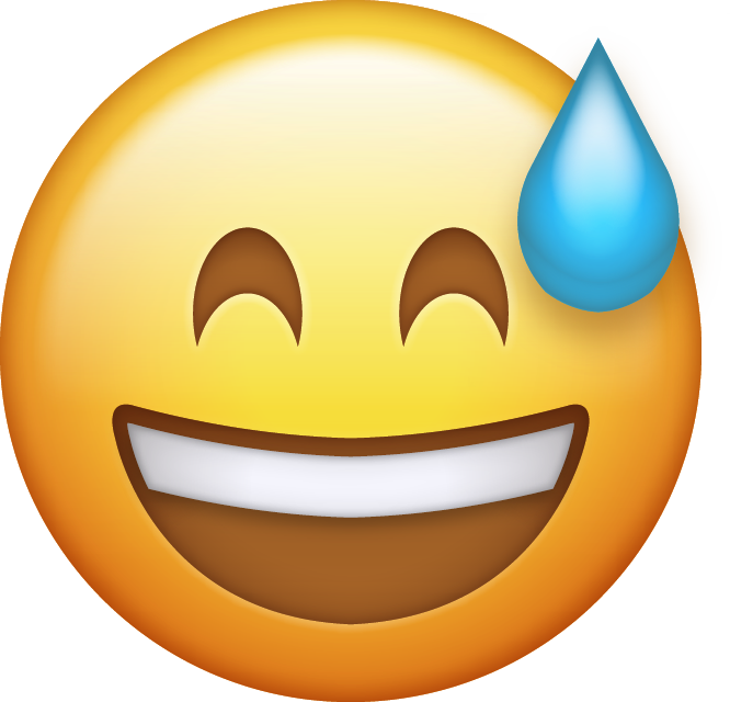 Worry clipart happy face. Sweating emoji cliparts free