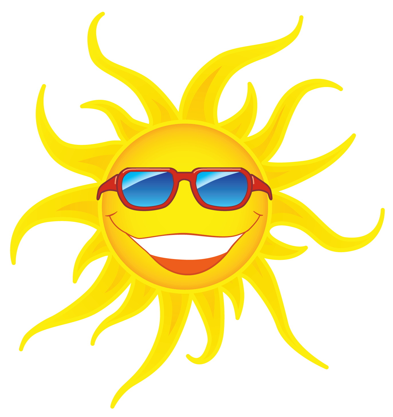 Sun with red transparent. Smiley clipart sunglasses