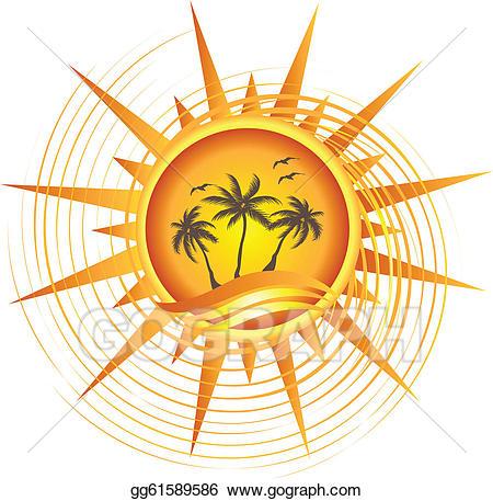 Vector art gold logo. Clipart sun tropical