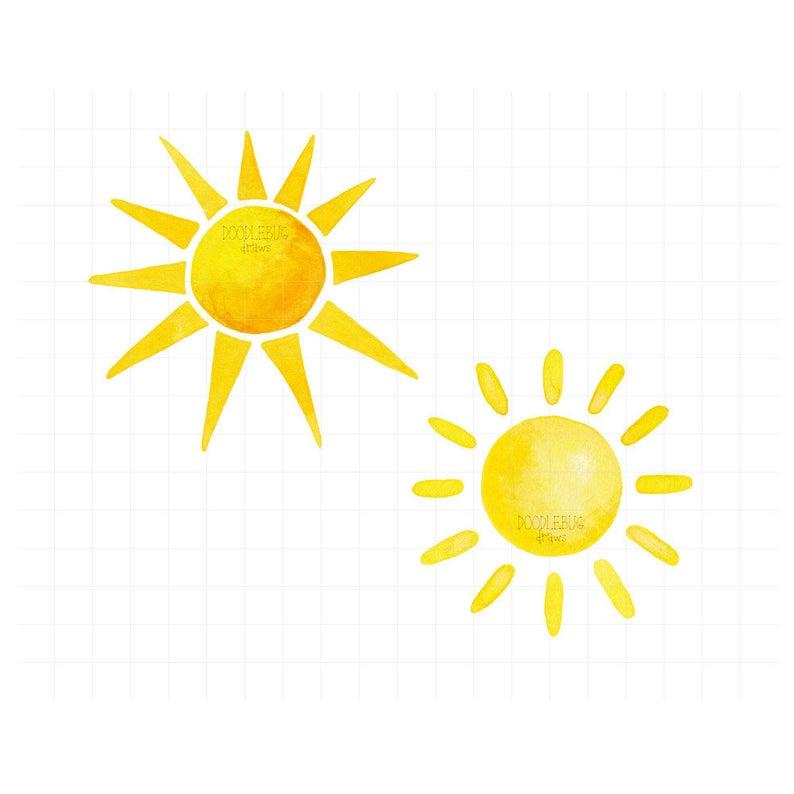 Clipart sunshine watercolor. Sun printable png illustrations