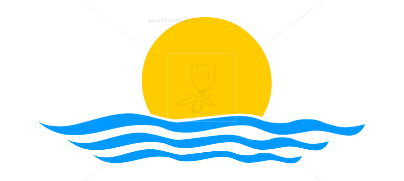 And waves logo icon. Clipart sun wave