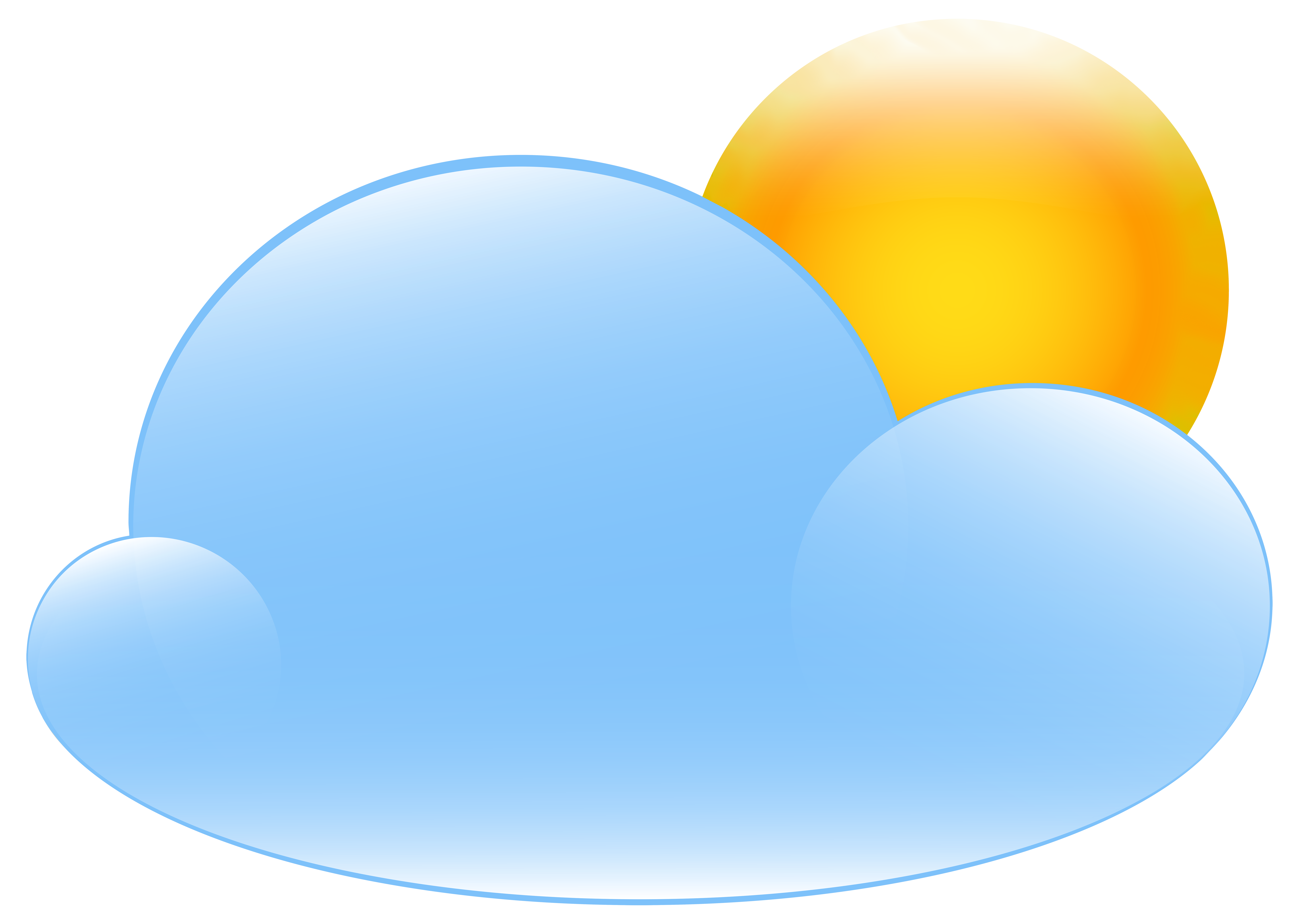 With sun weather icon. Cloudy clipart partly cloudy