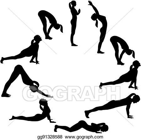 Clipart sun yoga. Clip art vector salutation