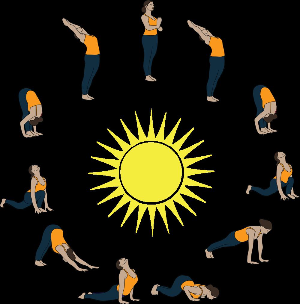 Circulatory system and salutations. Clipart sun yoga