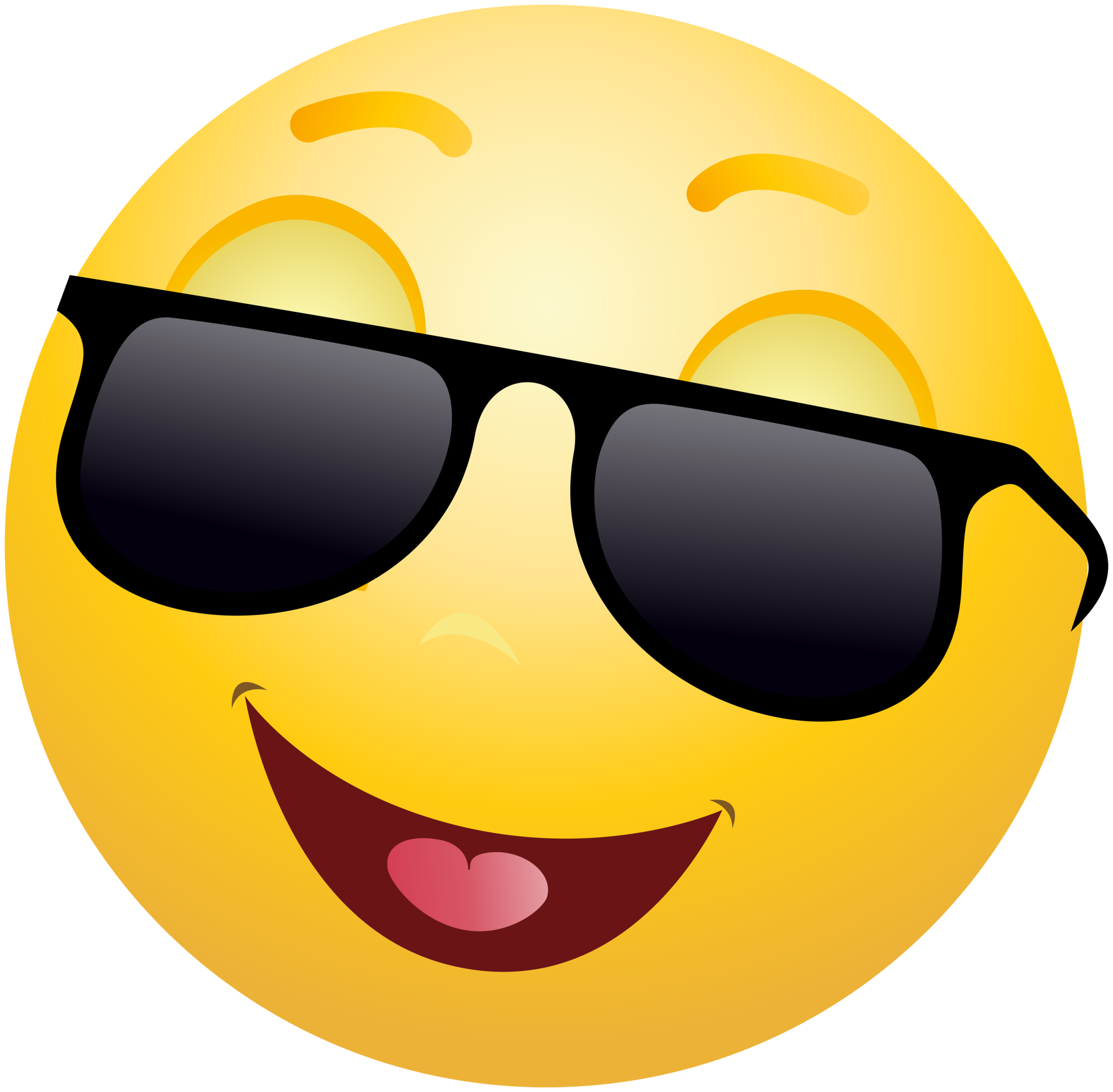 Sunglasses clipart cool. Smiling emoticon emoji with