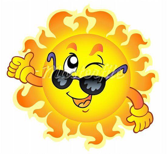 Cartoon sun with sunglasses. Sunny clipart shades