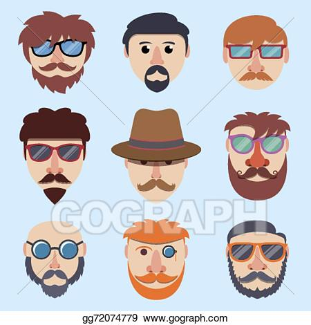 Sunglasses clipart beard boy. Vector hipster faces illustration
