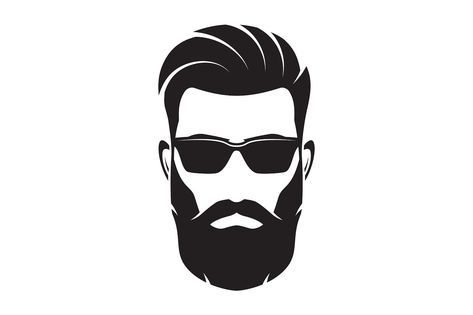 Bearded men face hipster. Clipart sunglasses beard style