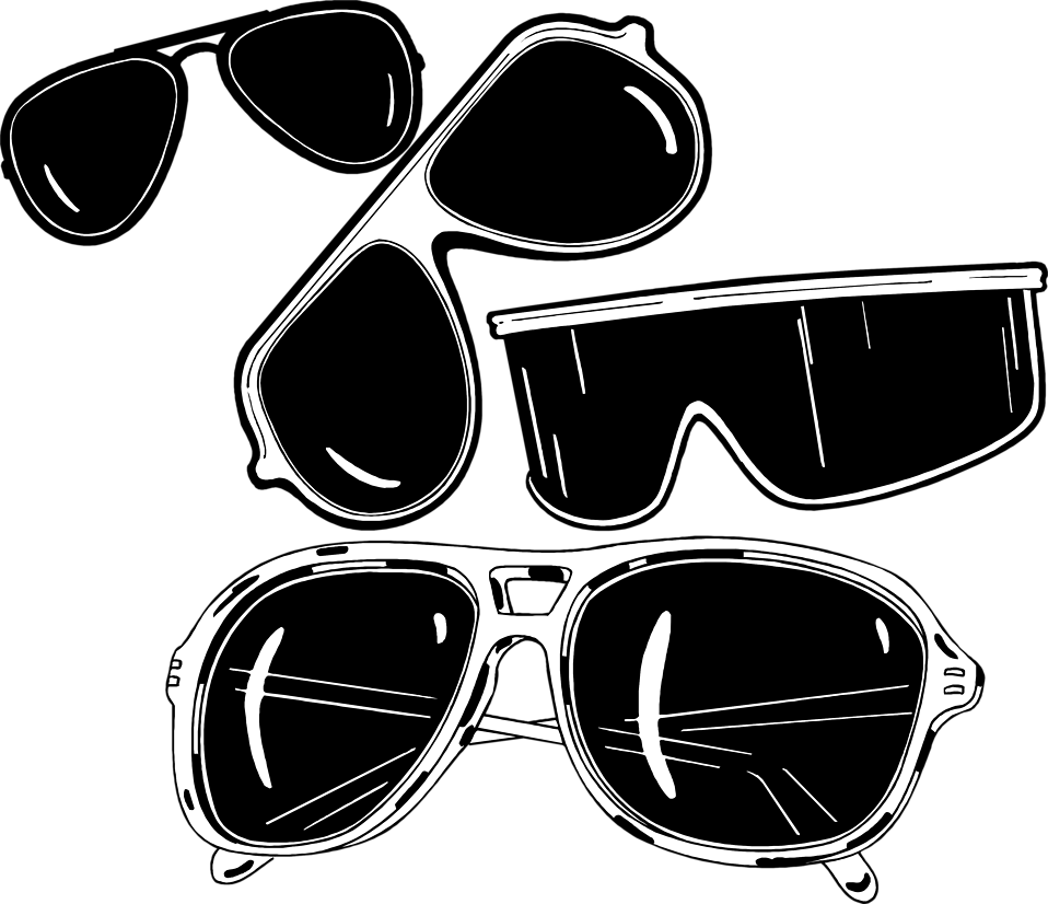 Free stock photo illustration. Clipart sunglasses black and white