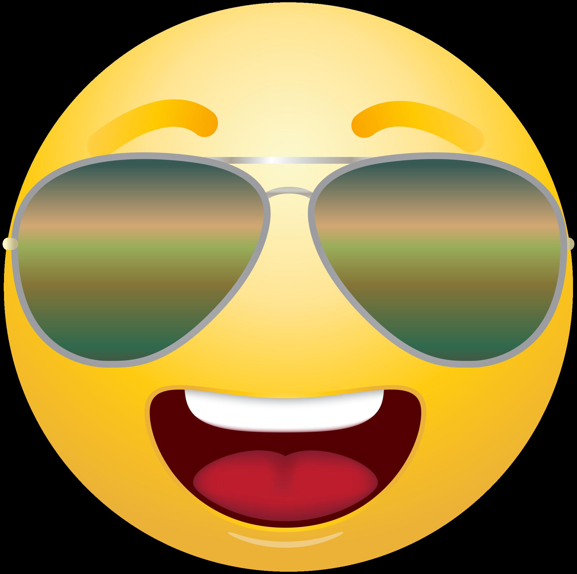 Sunglasses clipart emoji. Emoticon with info