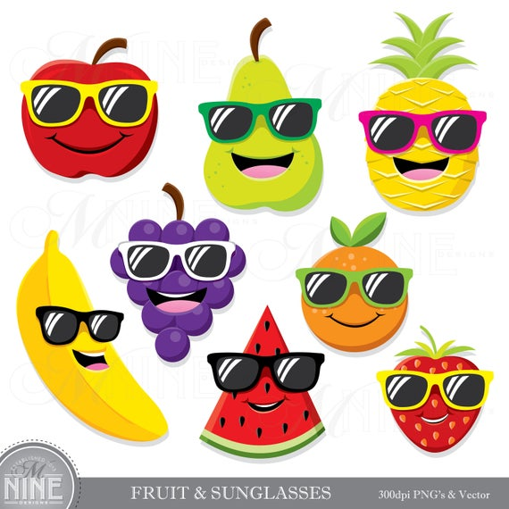 Clipart sunglasses cute. Fruit with clip art