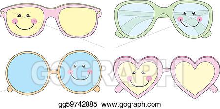 Clipart sunglasses cute. Vector illustration stock clip