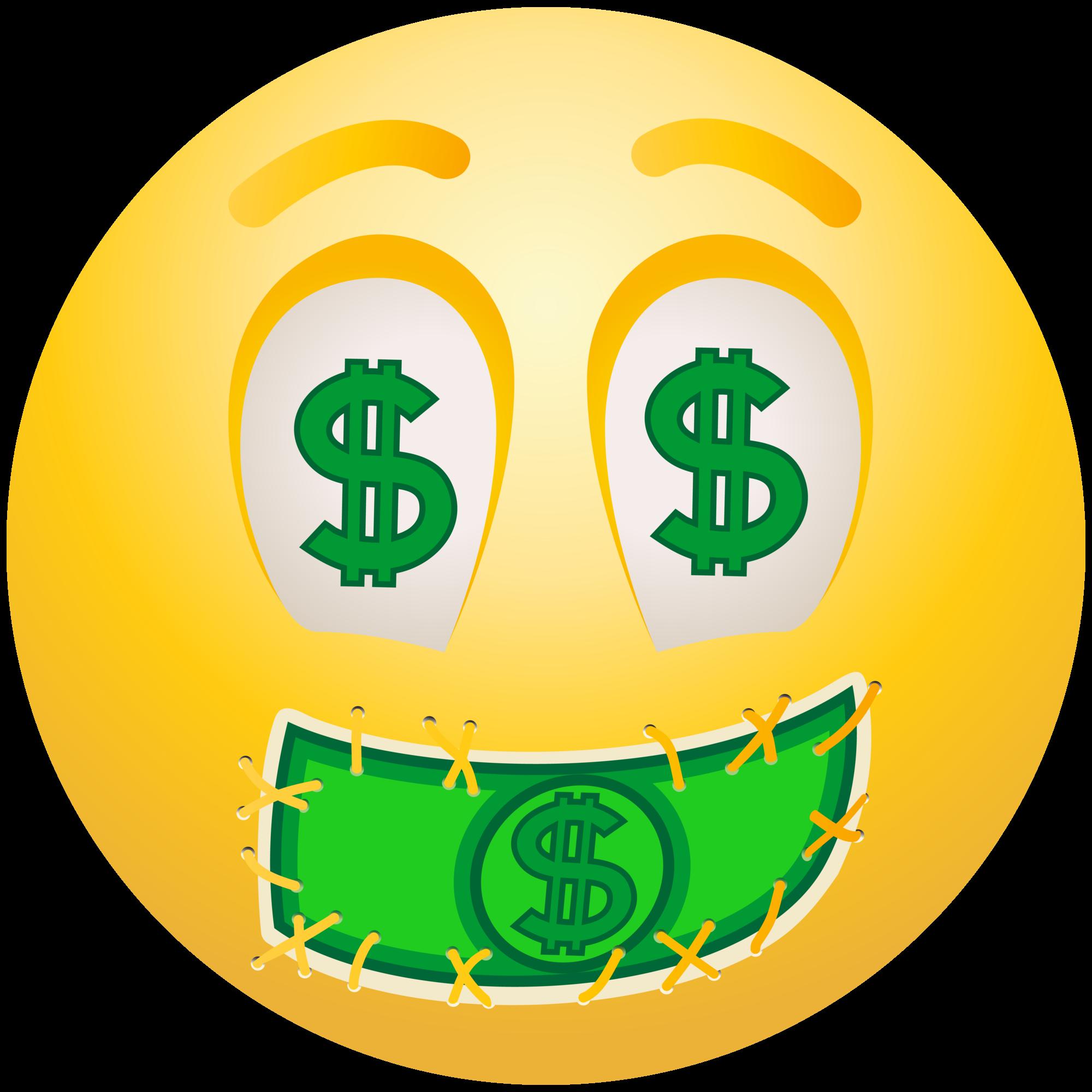 Faces clipart emojis. Dollar face emoticon emoji