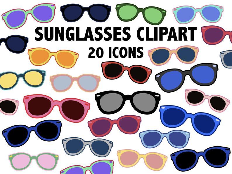 Summer icons retro sun. Sunglasses clipart printable