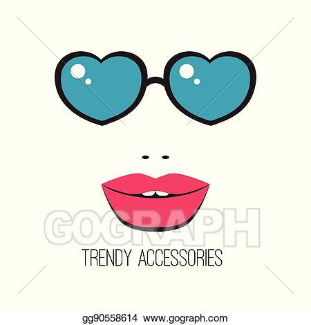 Vector stock girl in. Sunglasses clipart lip